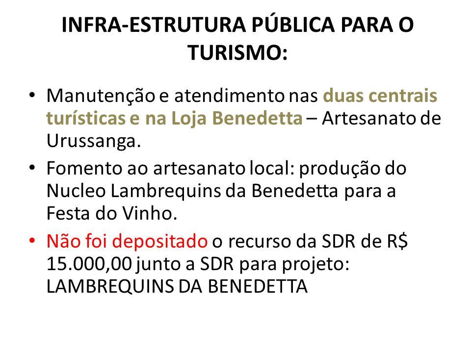 INFRA-ESTRUTURA PÚBLICA PARA O TURISMO: Manutenção e atendimento nas duas centrais turísticas e na Loja Benedetta – Artesanato de Urussanga.
