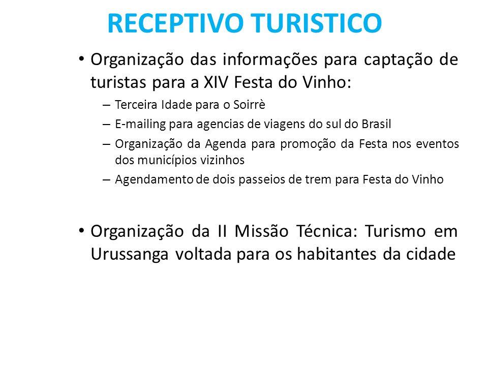 RECEPTIVO TURISTICO Organização das informações para captação de turistas para a XIV Festa do Vinho: – Terceira Idade para o Soirrè – E-mailing para a