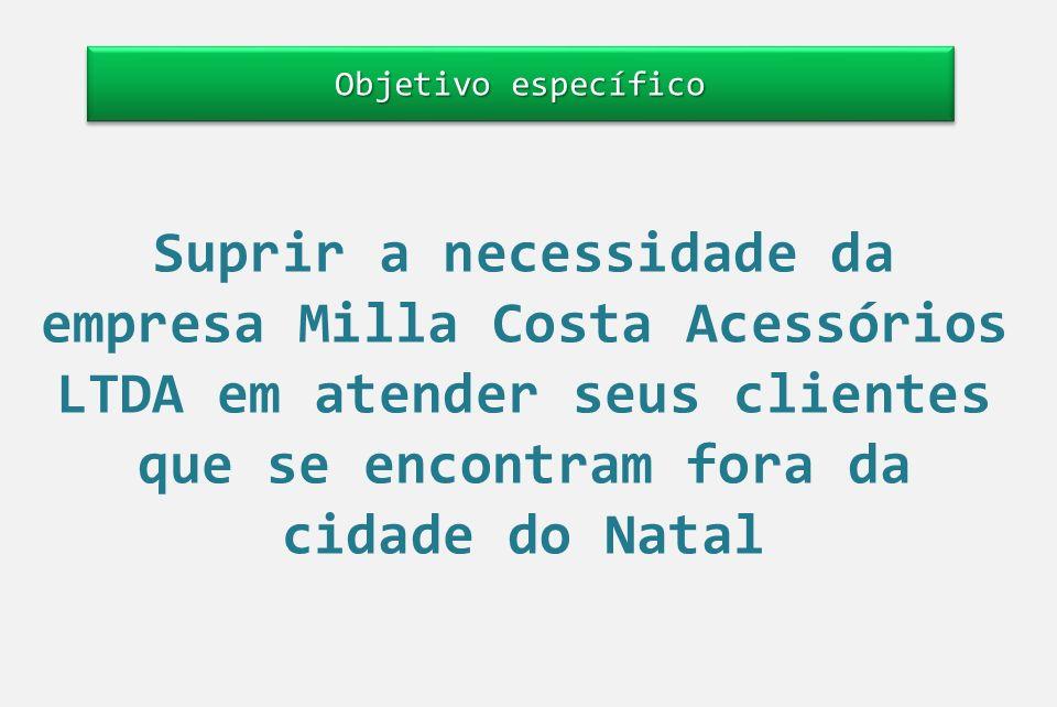Objetivo específico Suprir a necessidade da empresa Milla Costa Acessórios LTDA em atender seus clientes que se encontram fora da cidade do Natal