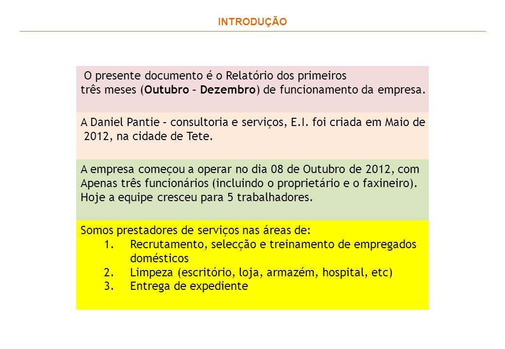 INTRODUÇÃO O presente documento é o Relatório dos primeiros três meses (Outubro – Dezembro) de funcionamento da empresa.