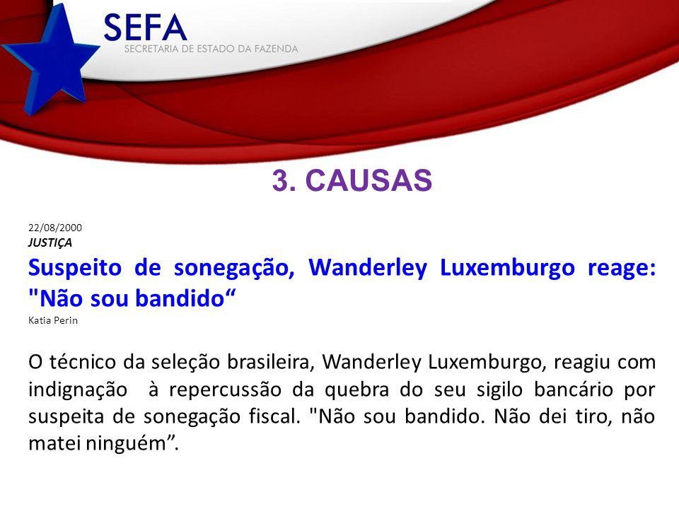 3. CAUSAS 22/08/2000 JUSTIÇA Suspeito de sonegação, Wanderley Luxemburgo reage: