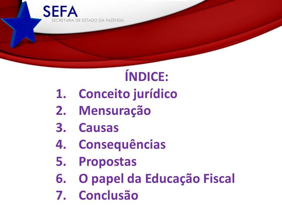 ÍNDICE: 1.Conceito jurídico 2.Mensuração 3.Causas 4.Consequências 5.Propostas 6.O papel da Educação Fiscal 7.Conclusão