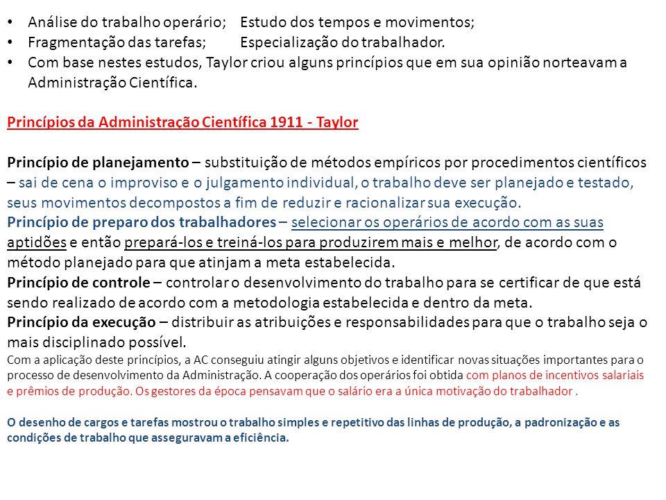 Análise do trabalho operário; Estudo dos tempos e movimentos; Fragmentação das tarefas; Especialização do trabalhador. Com base nestes estudos, Taylor