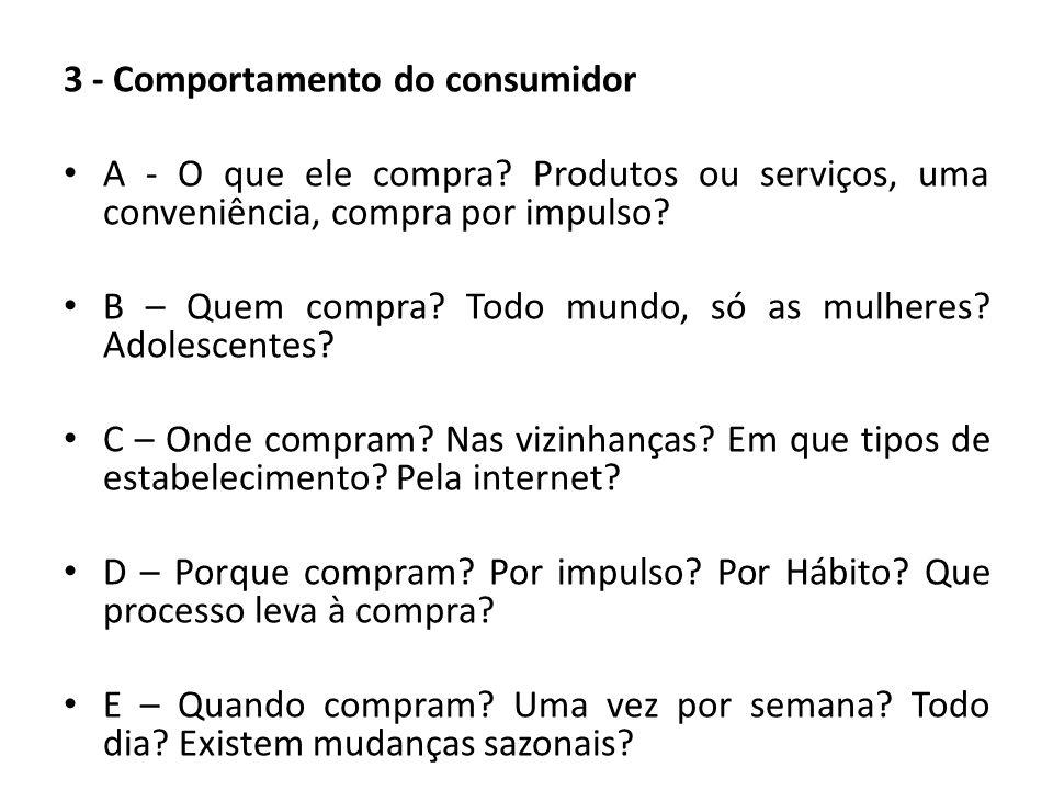 3 - Comportamento do consumidor A - O que ele compra? Produtos ou serviços, uma conveniência, compra por impulso? B – Quem compra? Todo mundo, só as m