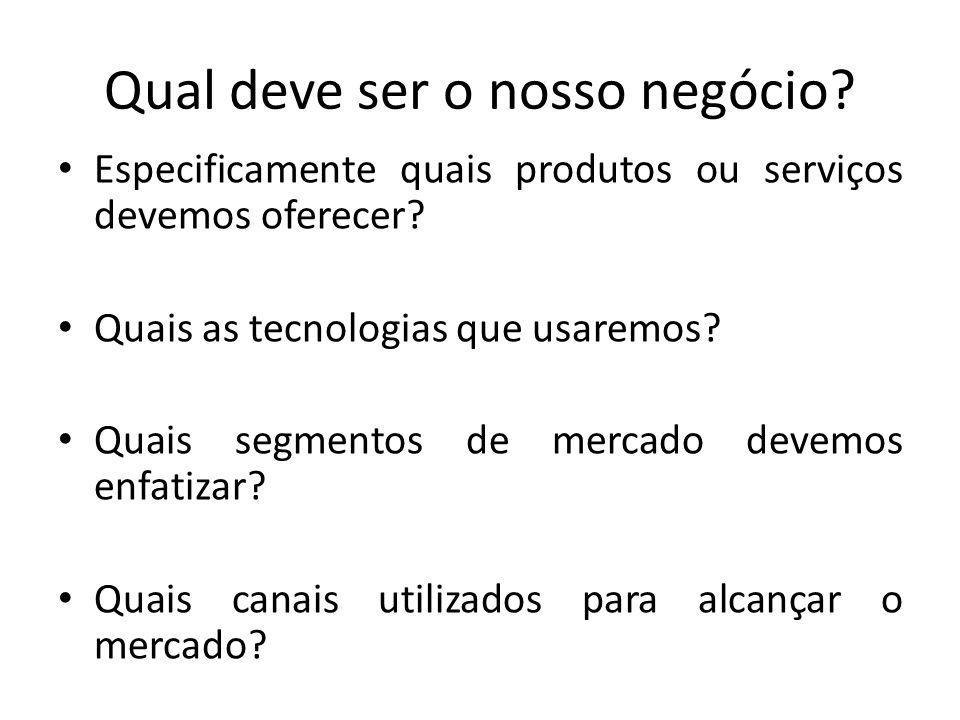 Qual deve ser o nosso negócio? Especificamente quais produtos ou serviços devemos oferecer? Quais as tecnologias que usaremos? Quais segmentos de merc