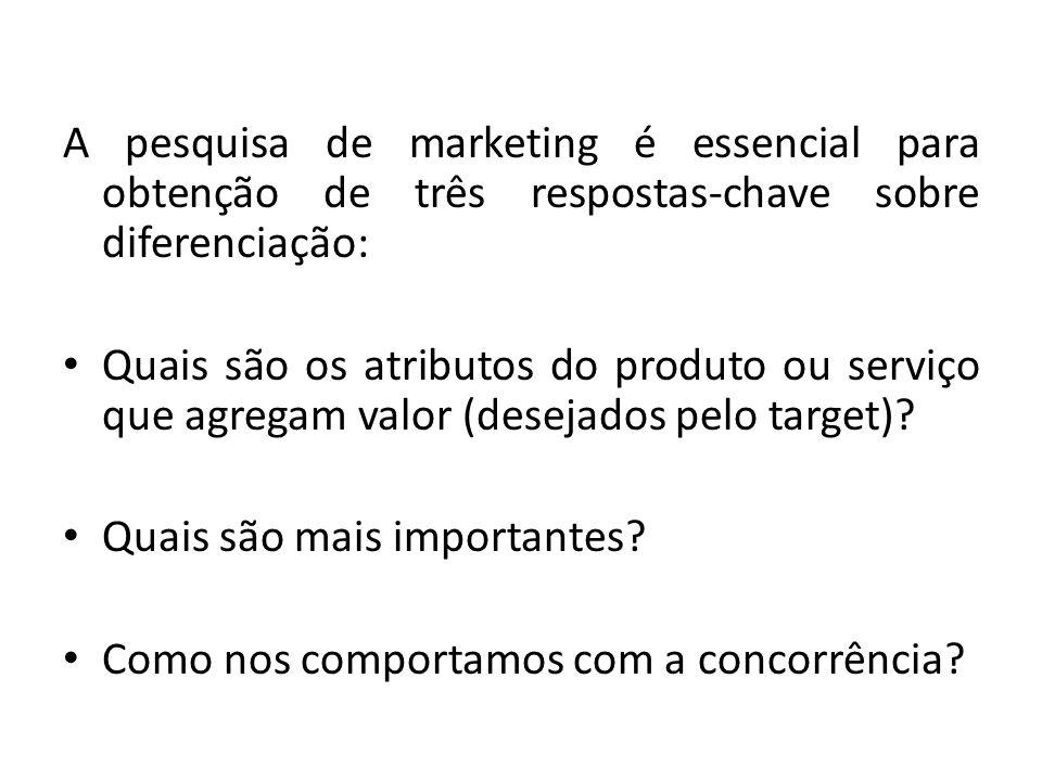 A pesquisa de marketing é essencial para obtenção de três respostas-chave sobre diferenciação: Quais são os atributos do produto ou serviço que agrega