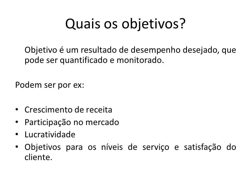 Quais os objetivos? Objetivo é um resultado de desempenho desejado, que pode ser quantificado e monitorado. Podem ser por ex: Crescimento de receita P