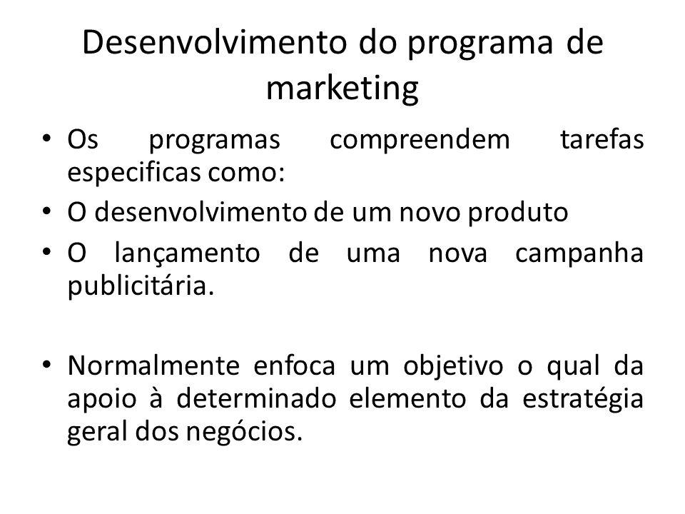 Desenvolvimento do programa de marketing Os programas compreendem tarefas especificas como: O desenvolvimento de um novo produto O lançamento de uma n