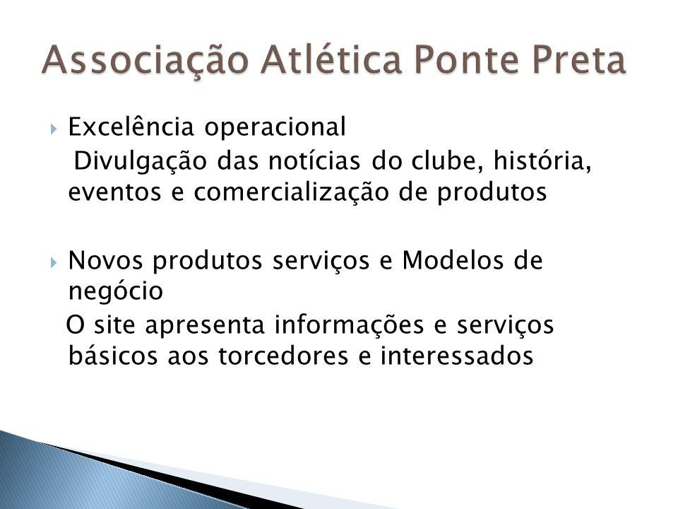 Excelência operacional Divulgação das notícias do clube, história, eventos e comercialização de produtos Novos produtos serviços e Modelos de negócio