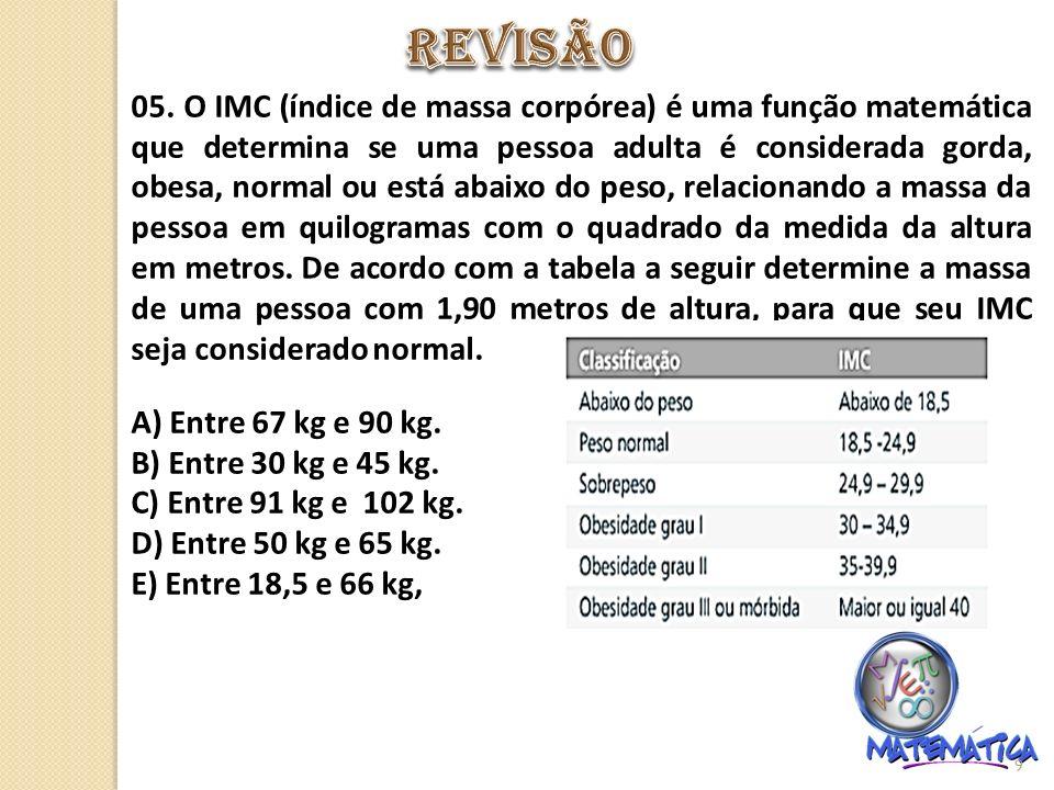05. O IMC (índice de massa corpórea) é uma função matemática que determina se uma pessoa adulta é considerada gorda, obesa, normal ou está abaixo do p
