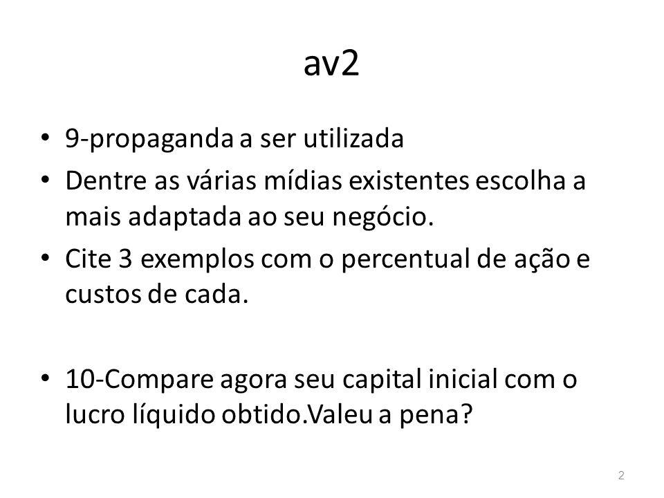 av2 9-propaganda a ser utilizada Dentre as várias mídias existentes escolha a mais adaptada ao seu negócio. Cite 3 exemplos com o percentual de ação e