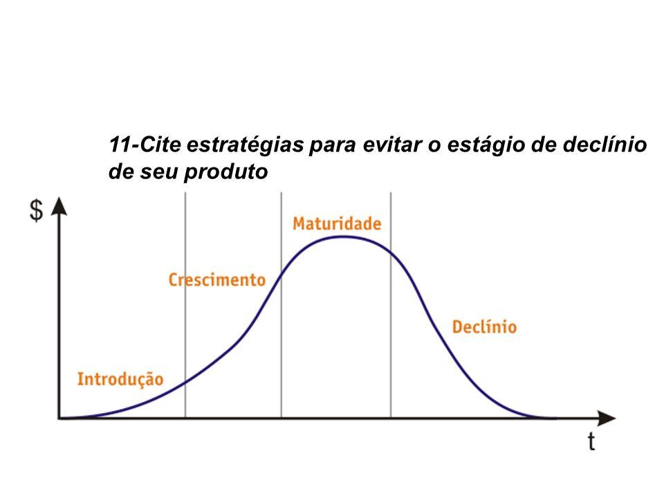 11-Cite estratégias para evitar o estágio de declínio de seu produto