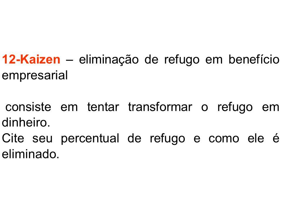 12-Kaizen – eliminação de refugo em benefício empresarial consiste em tentar transformar o refugo em dinheiro. Cite seu percentual de refugo e como el