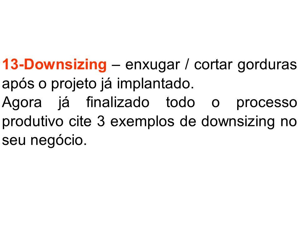 13-Downsizing – enxugar / cortar gorduras após o projeto já implantado. Agora já finalizado todo o processo produtivo cite 3 exemplos de downsizing no