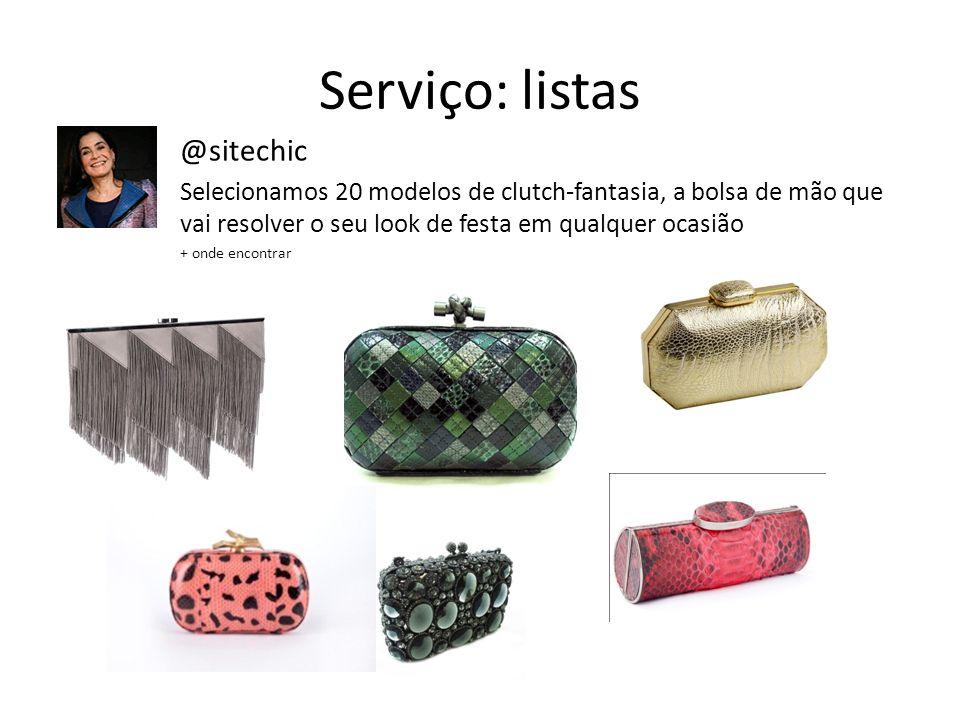 Serviço: listas @sitechic Selecionamos 20 modelos de clutch-fantasia, a bolsa de mão que vai resolver o seu look de festa em qualquer ocasião + onde e