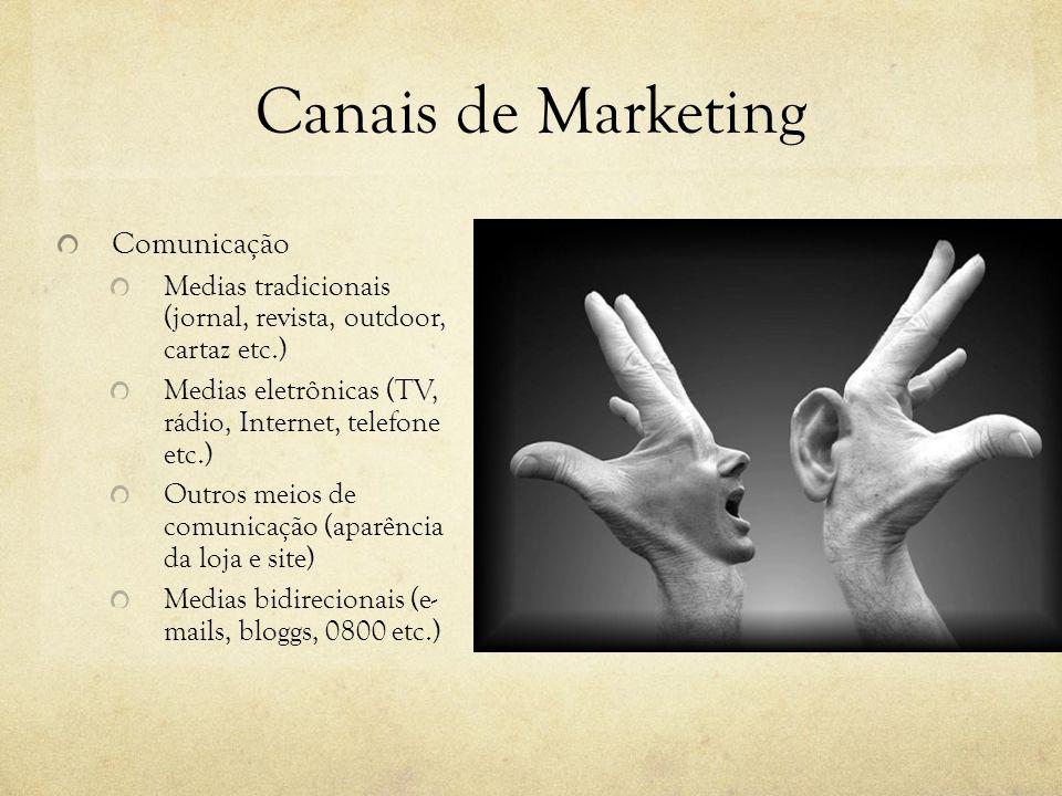 Canais de Marketing Comunicação Medias tradicionais (jornal, revista, outdoor, cartaz etc.) Medias eletrônicas (TV, rádio, Internet, telefone etc.) Ou