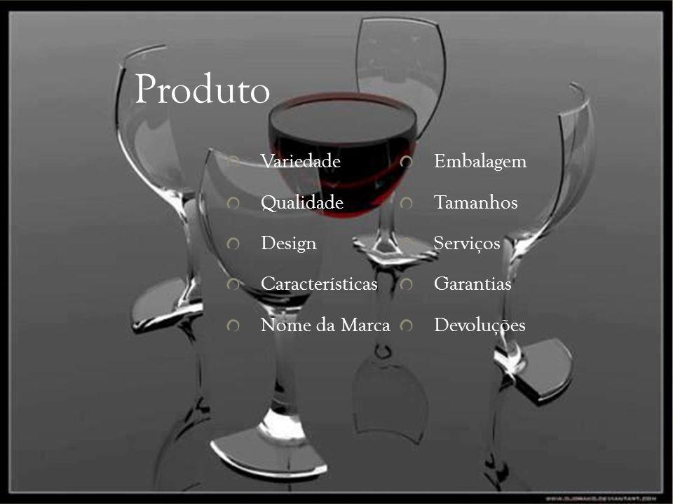 Produto Variedade Qualidade Design Características Nome da Marca Embalagem Tamanhos Serviços Garantias Devoluções