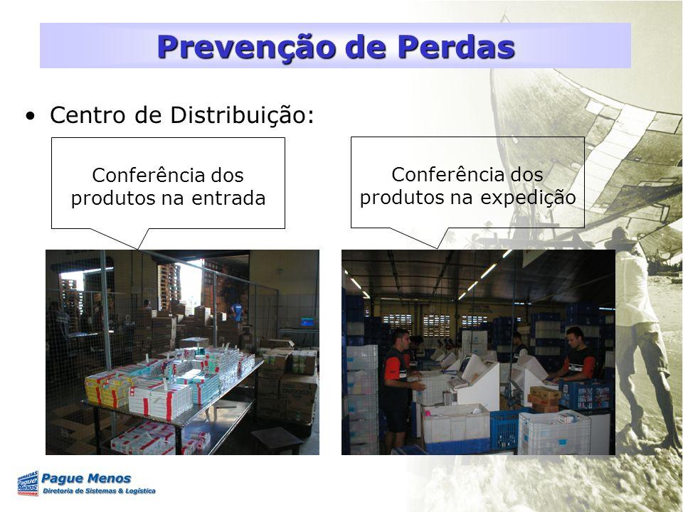 Centro de Distribuição: Prevenção de Perdas Conferência dos produtos na entrada Conferência dos produtos na expedição