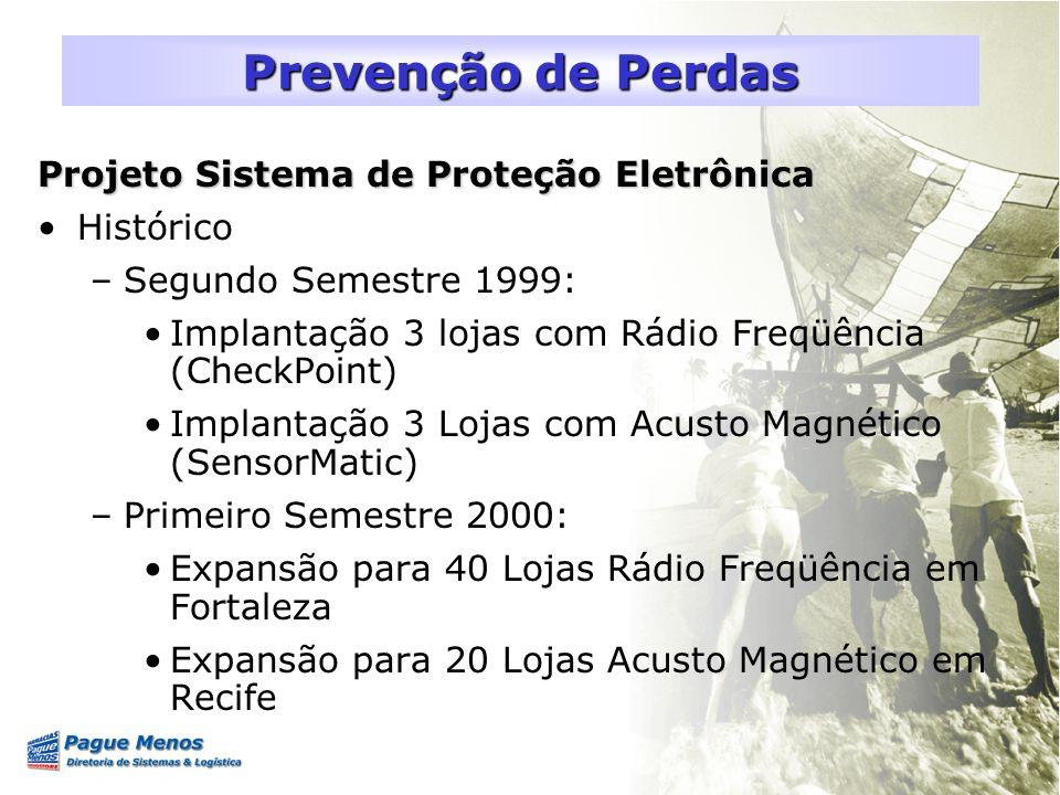 Projeto Sistema de Proteção Eletrônica Histórico –Segundo Semestre 1999: Implantação 3 lojas com Rádio Freqüência (CheckPoint) Implantação 3 Lojas com