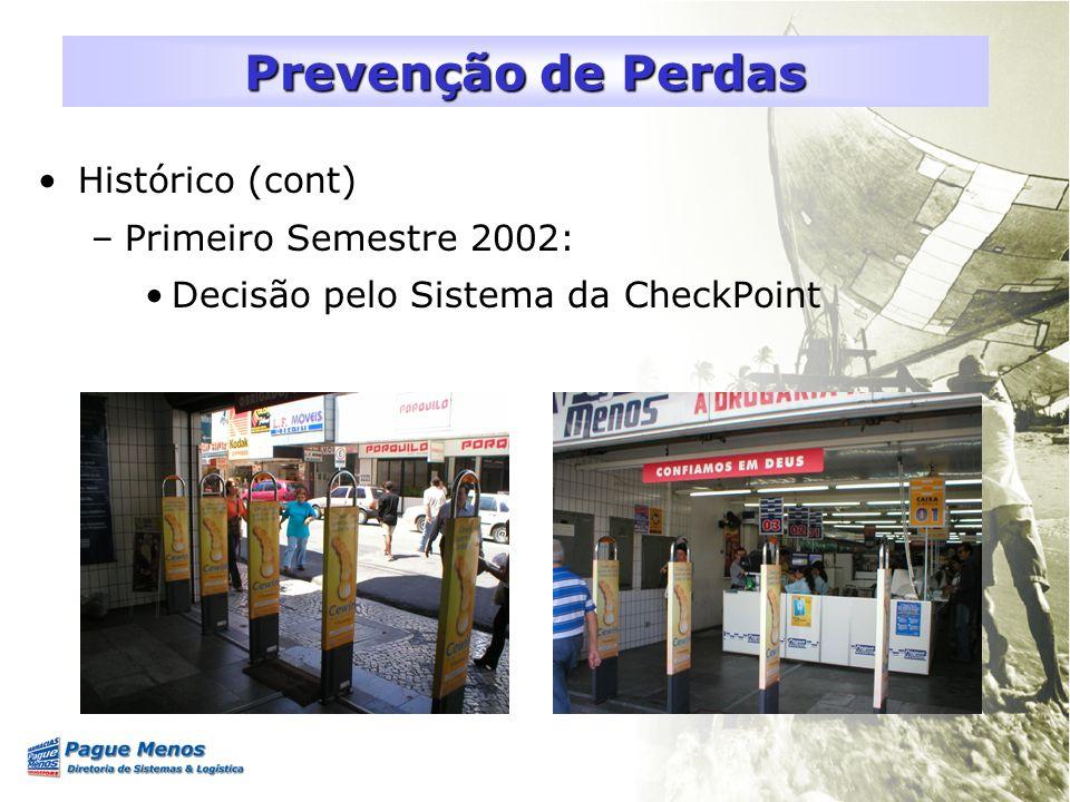 Histórico (cont) –Primeiro Semestre 2002: Decisão pelo Sistema da CheckPoint Prevenção de Perdas