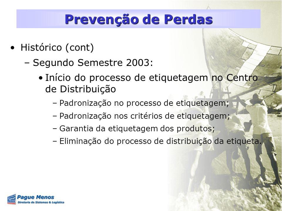 Histórico (cont) –Segundo Semestre 2003: Início do processo de etiquetagem no Centro de Distribuição –Padronização no processo de etiquetagem; –Padron