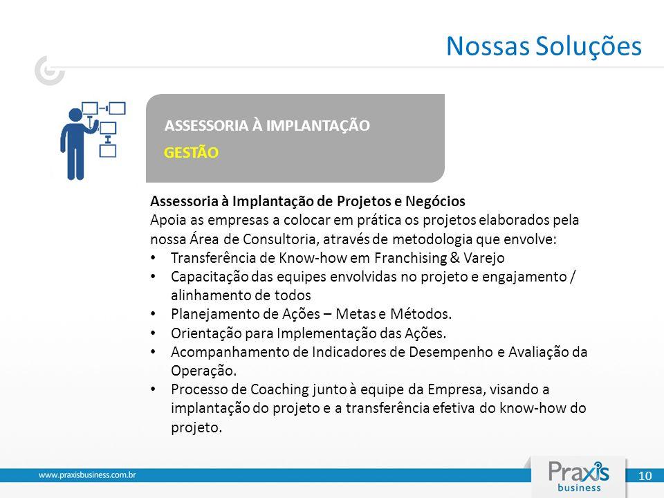 ASSESSORIA À IMPLANTAÇÃO GESTÃO Assessoria à Implantação de Projetos e Negócios Apoia as empresas a colocar em prática os projetos elaborados pela nos
