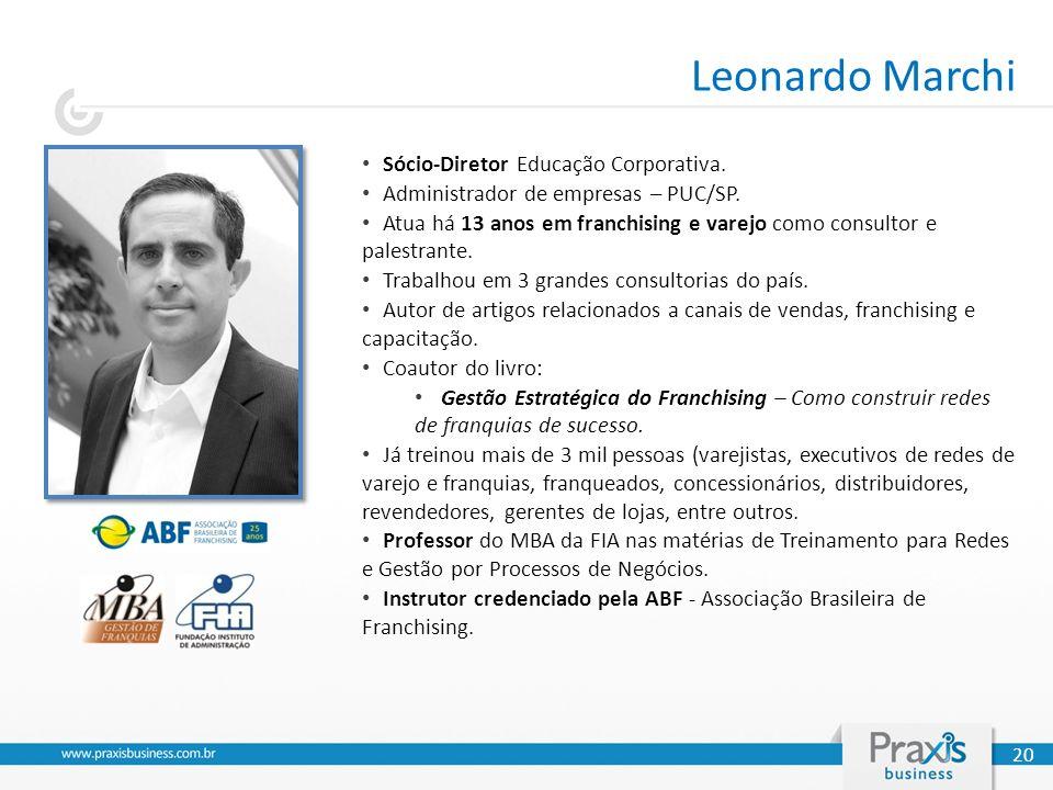 Leonardo Marchi Sócio-Diretor Educação Corporativa. Administrador de empresas – PUC/SP. Atua há 13 anos em franchising e varejo como consultor e pales