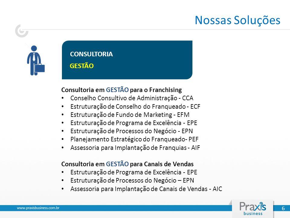 CONSULTORIA GESTÃO Consultoria em GESTÃO para o Franchising Conselho Consultivo de Administração - CCA Estruturação de Conselho do Franqueado - ECF Estruturação de Fundo de Marketing - EFM Estruturação de Programa de Excelência - EPE Estruturação de Processos do Negócio - EPN Planejamento Estratégico do Franqueado- PEF Assessoria para Implantação de Franquias - AIF Consultoria em GESTÃO para Canais de Vendas Estruturação de Programa de Excelência - EPE Estruturação de Processos do Negócio – EPN Assessoria para Implantação de Canais de Vendas - AIC 6 Nossas Soluções
