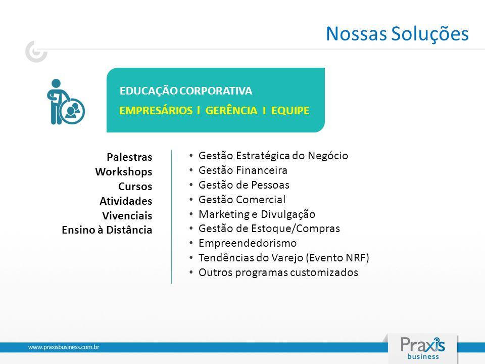 EDUCAÇÃO CORPORATIVA EMPRESÁRIOS l GERÊNCIA I EQUIPE Gestão Estratégica do Negócio Gestão Financeira Gestão de Pessoas Gestão Comercial Marketing e Di