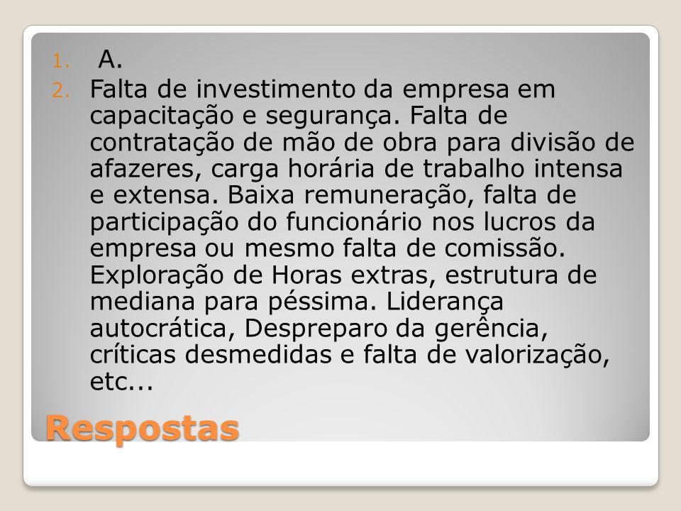 Respostas 1.A. 2. Falta de investimento da empresa em capacitação e segurança.