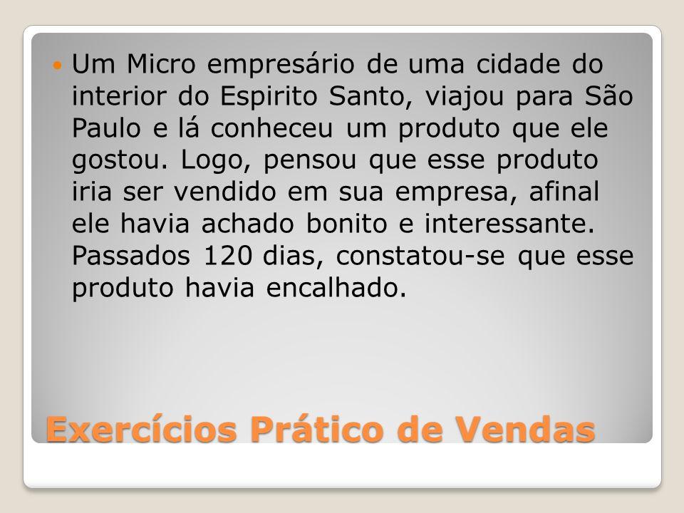 Exercícios Prático de Vendas Um Micro empresário de uma cidade do interior do Espirito Santo, viajou para São Paulo e lá conheceu um produto que ele g