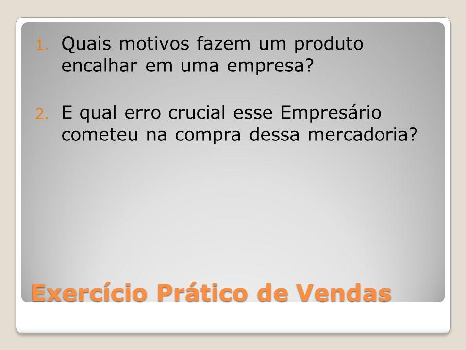 Exercício Prático de Vendas 1. Quais motivos fazem um produto encalhar em uma empresa? 2. E qual erro crucial esse Empresário cometeu na compra dessa