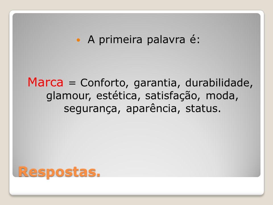 Respostas. A primeira palavra é: Marca = Conforto, garantia, durabilidade, glamour, estética, satisfação, moda, segurança, aparência, status.