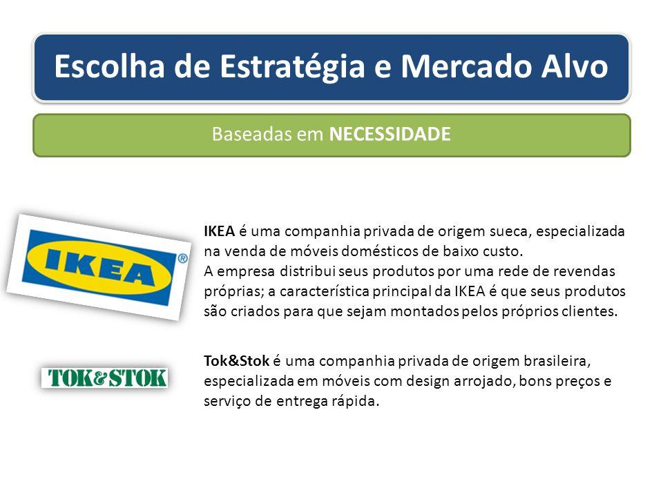 Escolha de Estratégia e Mercado Alvo Baseadas em NECESSIDADE IKEA é uma companhia privada de origem sueca, especializada na venda de móveis domésticos de baixo custo.