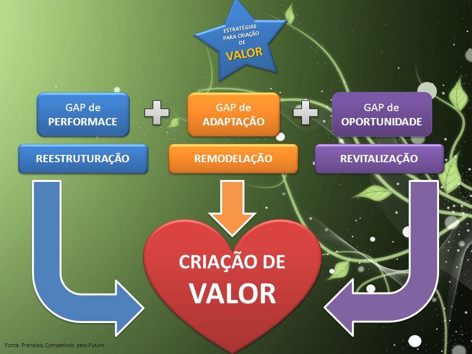 ESTRATÉGIAS PARA CRIAÇÃO DE VALOR VALOR GAP de PERFORMACE GAP de ADAPTAÇÃO GAP de OPORTUNIDADE REESTRUTURAÇÃO REMODELAÇÃO REVITALIZAÇÃO CRIAÇÃO DE VAL