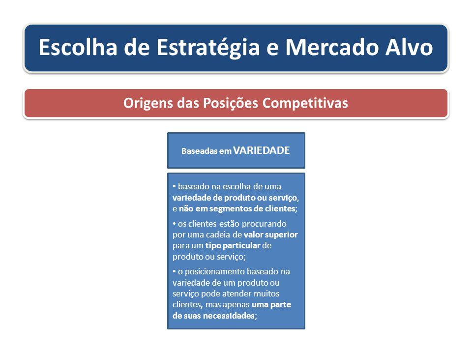 Escolha de Estratégia e Mercado Alvo Origens das Posições Competitivas baseado na escolha de uma variedade de produto ou serviço, e não em segmentos d
