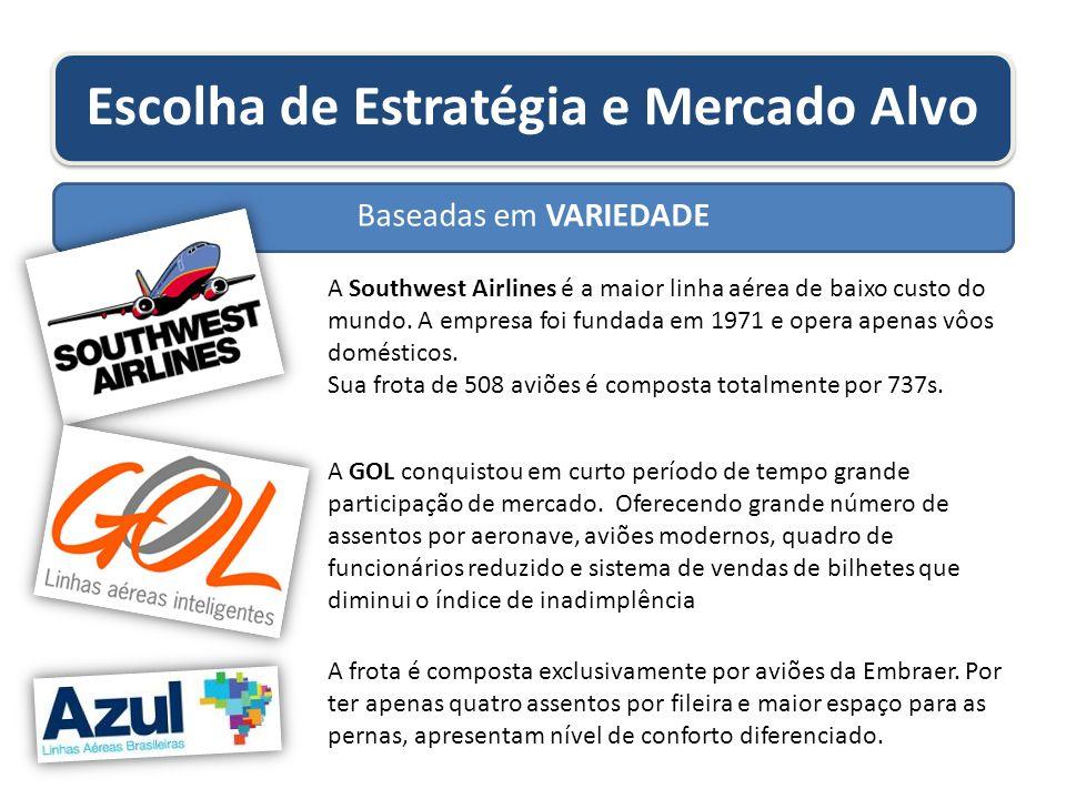 Escolha de Estratégia e Mercado Alvo Baseadas em VARIEDADE A Southwest Airlines é a maior linha aérea de baixo custo do mundo. A empresa foi fundada e