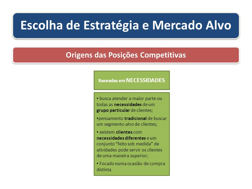 Escolha de Estratégia e Mercado Alvo Origens das Posições Competitivas busca atender a maior parte ou todas as necessidades de um grupo particular de