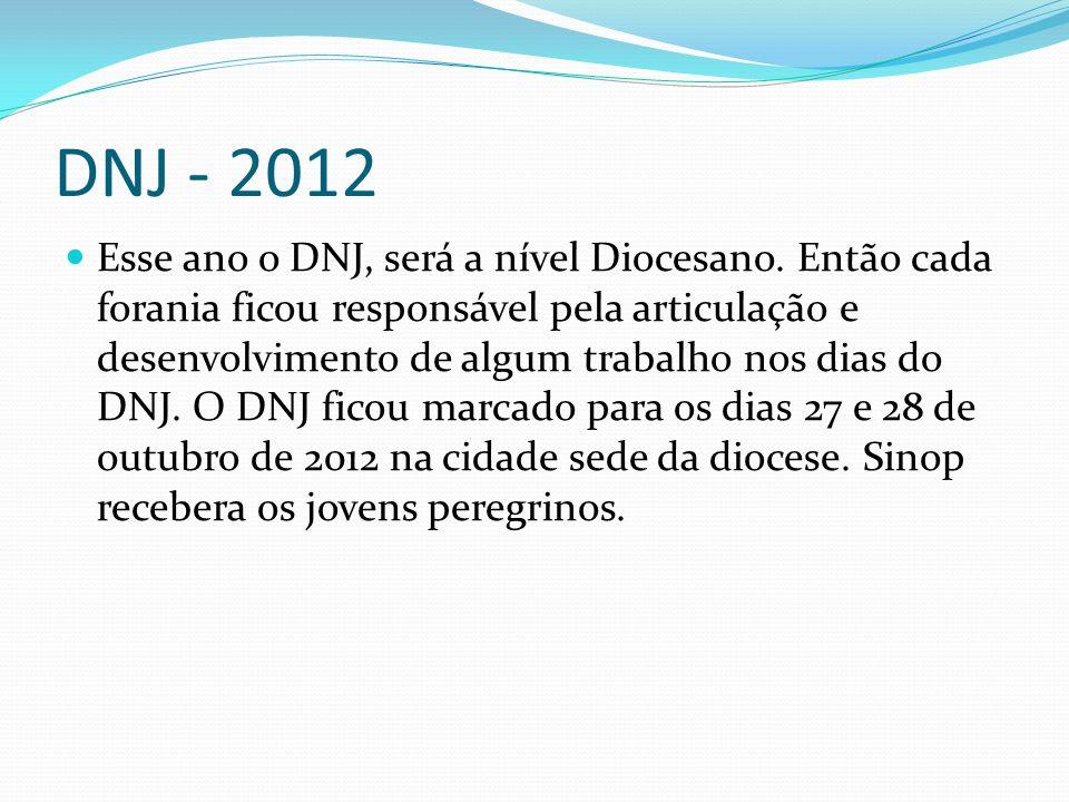 DNJ - 2012 Esse ano o DNJ, será a nível Diocesano. Então cada forania ficou responsável pela articulação e desenvolvimento de algum trabalho nos dias