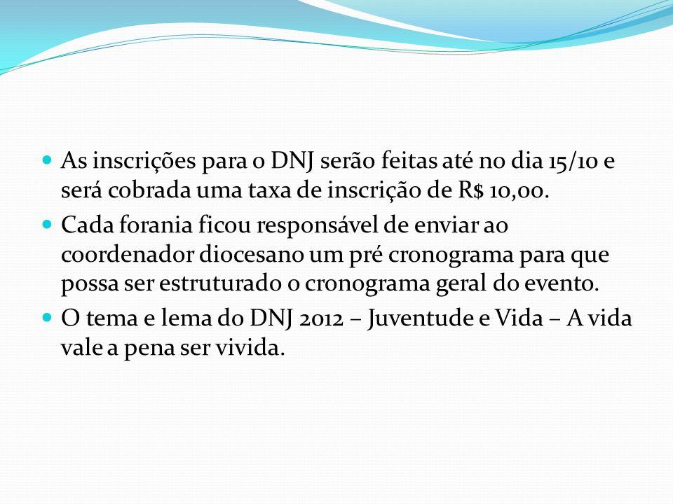 As inscrições para o DNJ serão feitas até no dia 15/10 e será cobrada uma taxa de inscrição de R$ 10,00. Cada forania ficou responsável de enviar ao c