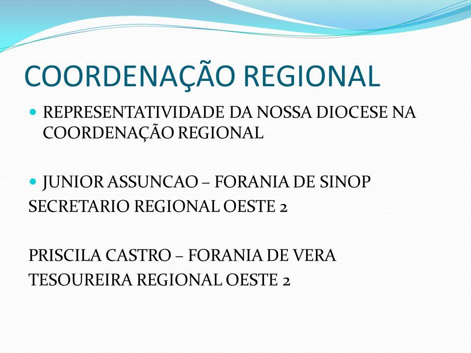 COORDENAÇÃO REGIONAL REPRESENTATIVIDADE DA NOSSA DIOCESE NA COORDENAÇÃO REGIONAL JUNIOR ASSUNCAO – FORANIA DE SINOP SECRETARIO REGIONAL OESTE 2 PRISCI