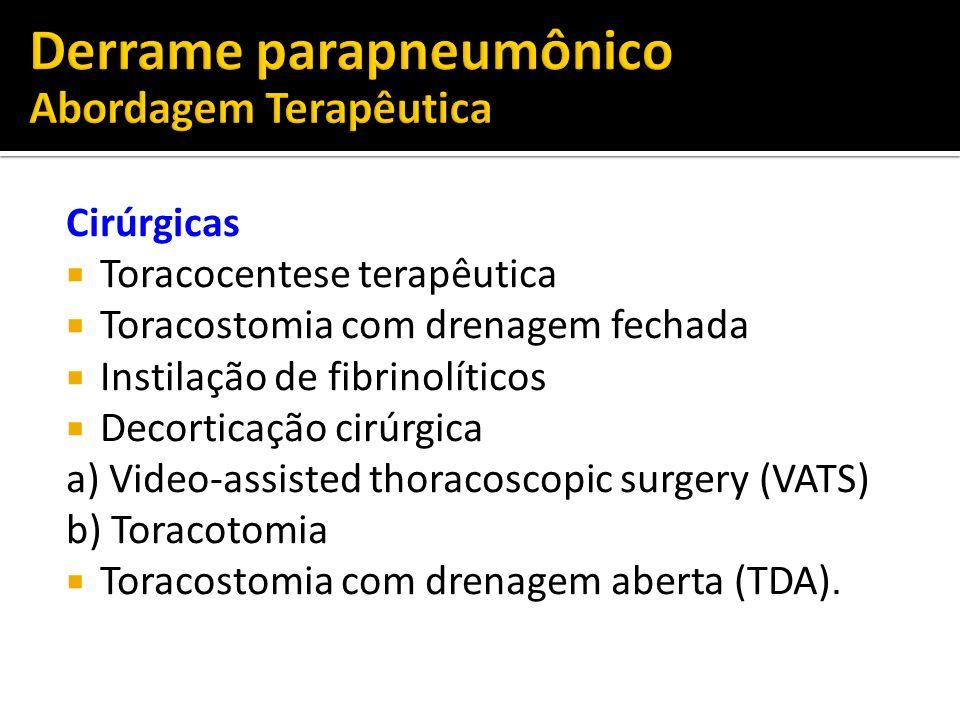 Cirúrgicas Toracocentese terapêutica Toracostomia com drenagem fechada Instilação de fibrinolíticos Decorticação cirúrgica a) Video-assisted thoracosc