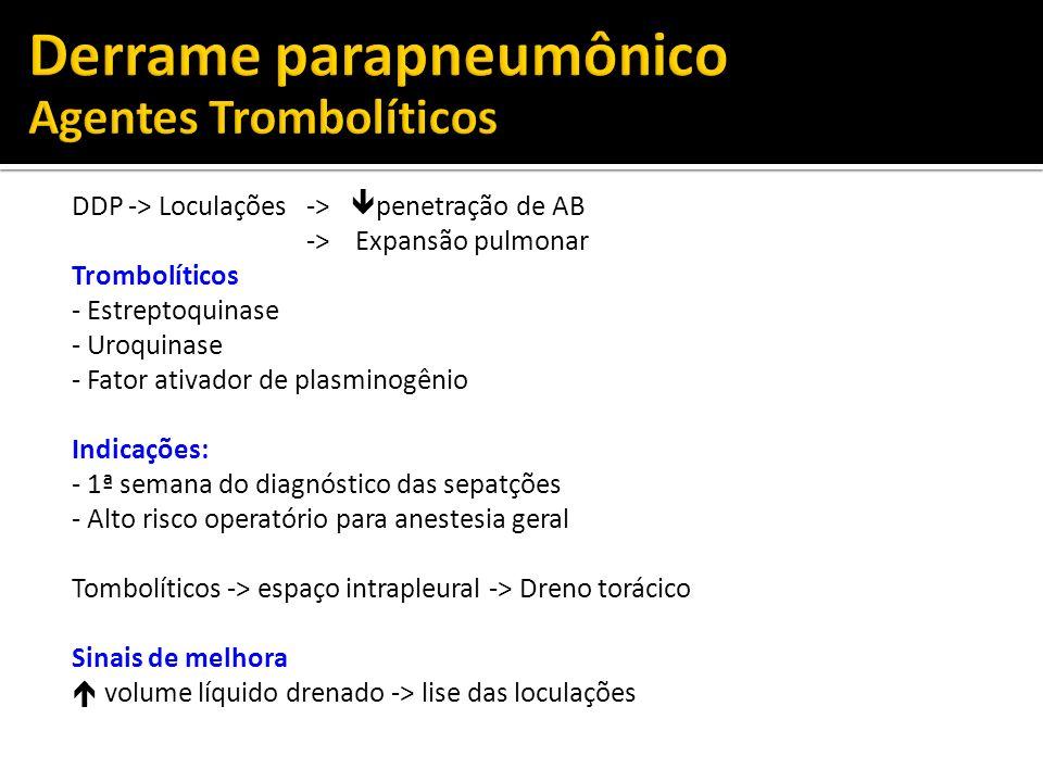 DDP -> Loculações -> penetração de AB -> Expansão pulmonar Trombolíticos - Estreptoquinase - Uroquinase - Fator ativador de plasminogênio Indicações: