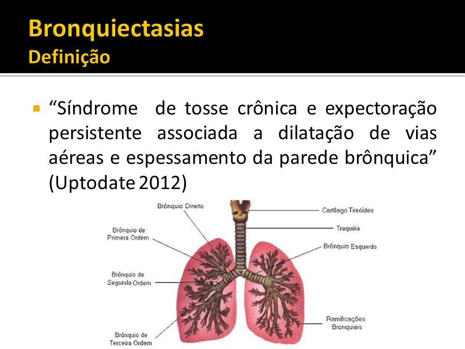 Síndrome de tosse crônica e expectoração persistente associada a dilatação de vias aéreas e espessamento da parede brônquica (Uptodate 2012)