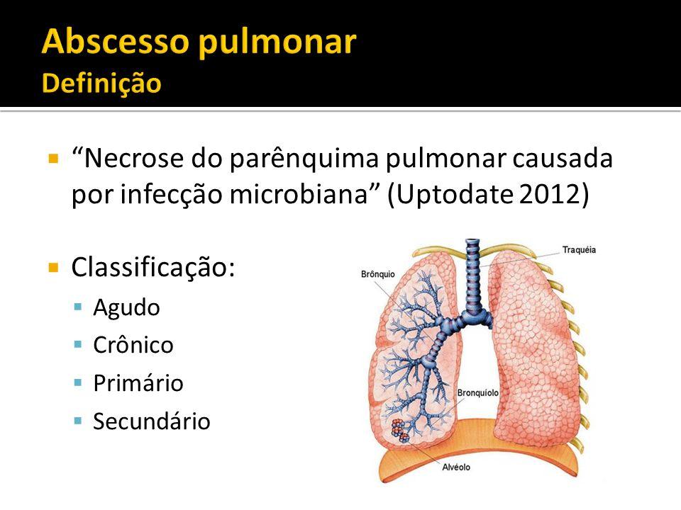 Necrose do parênquima pulmonar causada por infecção microbiana (Uptodate 2012) Classificação: Agudo Crônico Primário Secundário