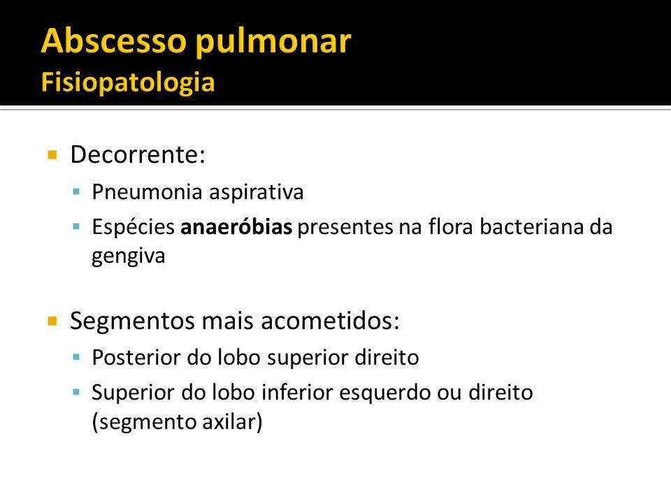 Decorrente: Pneumonia aspirativa Espécies anaeróbias presentes na flora bacteriana da gengiva Segmentos mais acometidos: Posterior do lobo superior di