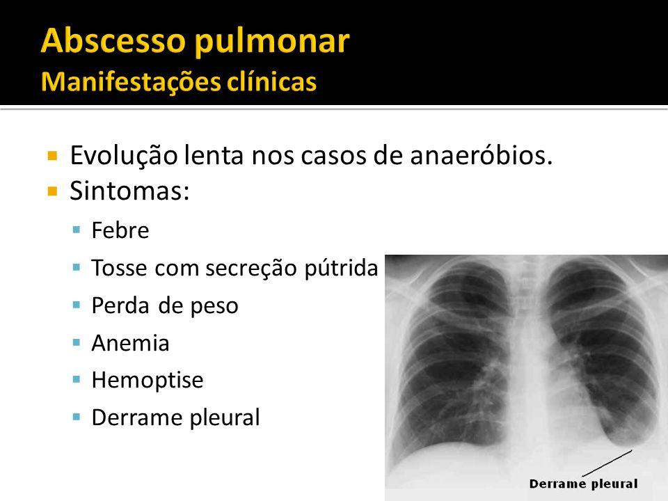 Evolução lenta nos casos de anaeróbios. Sintomas: Febre Tosse com secreção pútrida Perda de peso Anemia Hemoptise Derrame pleural