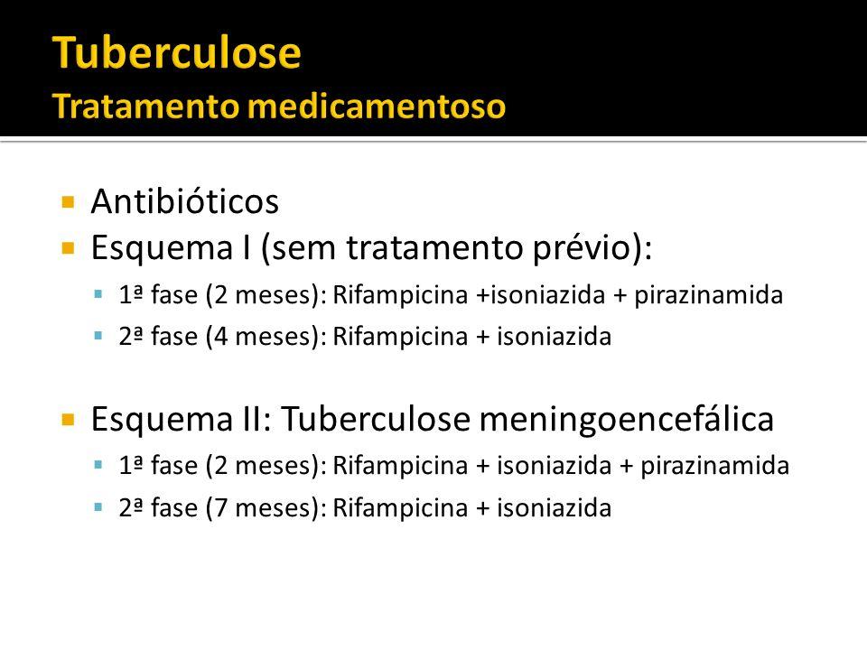 Antibióticos Esquema I (sem tratamento prévio): 1ª fase (2 meses): Rifampicina +isoniazida + pirazinamida 2ª fase (4 meses): Rifampicina + isoniazida