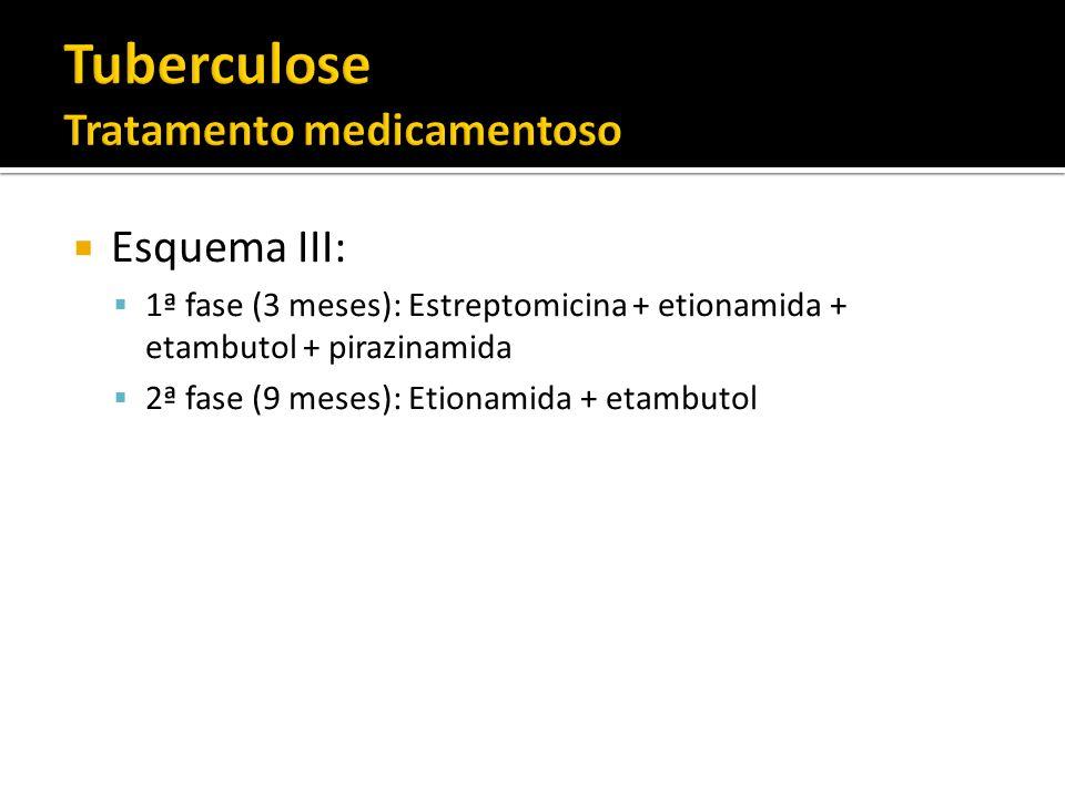 Esquema III: 1ª fase (3 meses): Estreptomicina + etionamida + etambutol + pirazinamida 2ª fase (9 meses): Etionamida + etambutol