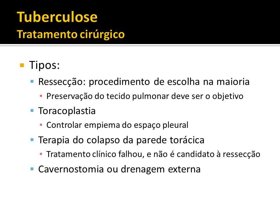 Tipos: Ressecção: procedimento de escolha na maioria Preservação do tecido pulmonar deve ser o objetivo Toracoplastia Controlar empiema do espaço pleu